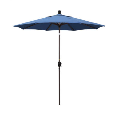 California Umbrella 7.5' Pacific Trail Series Solid Olefin Patio Umbrella With Bronze Aluminum Pole Aluminum Ribs Push Button Tilt Crank Lift