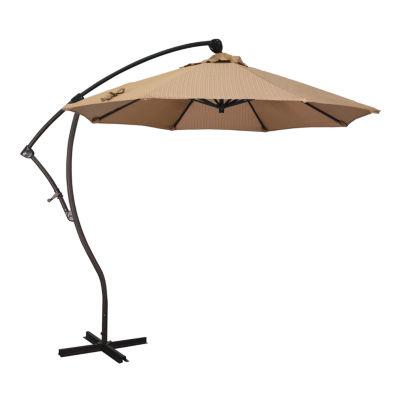 California Umbrella 9' Bayside Series Olefin Cantilever Patio Umbrella With Bronze Aluminum Pole Aluminum Ribs 360 Rotation Tilt Crank Lift