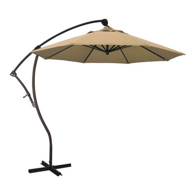 California Umbrella 9' Bayside Series Solid Olefin Cantilever Patio Umbrella With Bronze Aluminum Pole Aluminum Ribs 360 Rotation Tilt Crank Lift