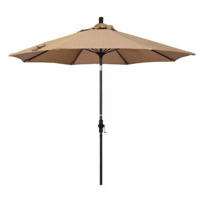 California Umbrella 9' Sun Master Series Olefin Patio Umbrella With Bronze Aluminum Pole Fiberglass Ribs Collar Tilt Crank Lift