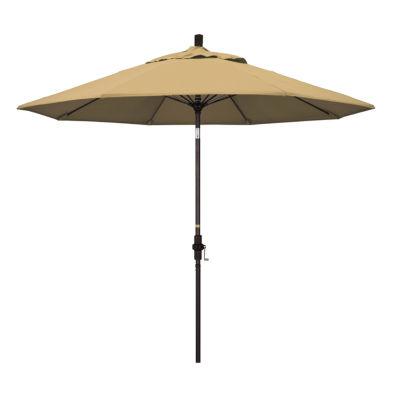 California Umbrella 9' Sun Master Series Solid Olefin Patio Umbrella With Bronze Aluminum Pole Fiberglass Ribs Collar Tilt Crank Lift