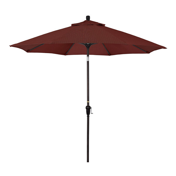 California Umbrella 9' Sunset Series Olefin Patio Umbrella With Bronze Aluminum Pole Aluminum Ribs Auto Tilt Crank Lift