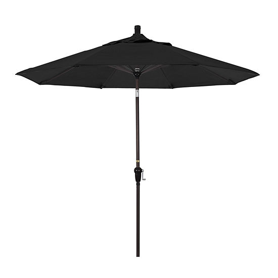 California Umbrella 9' Sunset Series Solid Olefin Patio Umbrella With Bronze Aluminum Pole Aluminum Ribs Auto Tilt Crank Lift