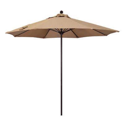California Umbrella 9' Venture Series Olefin Patio Umbrella With Bronze Aluminum Pole Fiberglass Ribs Push Lift