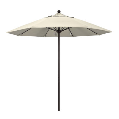 California Umbrella 9' Venture Series Solid Olefin Patio Umbrella With Bronze Aluminum Pole Fiberglass Ribs Push Lift