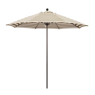 California Umbrella 9' Venture Series Stripe Olefin Patio Umbrella With Bronze Aluminum Pole Fiberglass Ribs Pully Lift