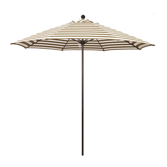 California Umbrella 9' Venture Series Stripe Olefin Patio Umbrella With Bronze Aluminum Pole Fiberglass Ribs Pully Lift