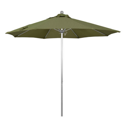 California Umbrella 9u0027 Venture Series Olefin Patio Umbrella With Silver  Anodized Aluminum Pole Fiberglass Ribs
