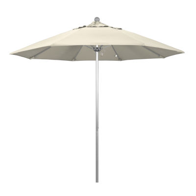 California Umbrella 9' Venture Series Solid Olefin Patio Umbrella With Silver Anodized Aluminum Pole Fiberglass Ribs Push Lift
