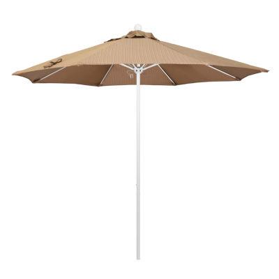 California Umbrella 9' Venture Series Olefin Patio Umbrella With Matted White Aluminum Pole Fiberglass Ribs Push Lift