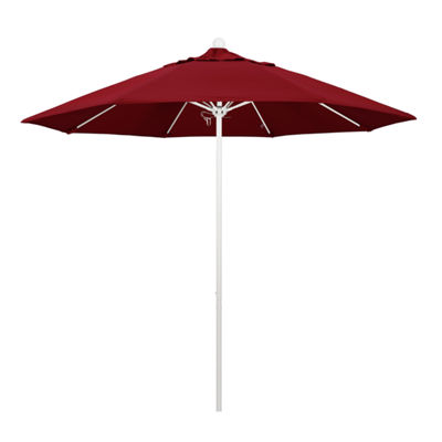 California Umbrella 9' Venture Series Solid Olefin Patio Umbrella With Matted White Aluminum Pole Fiberglass Ribs Pully Lift