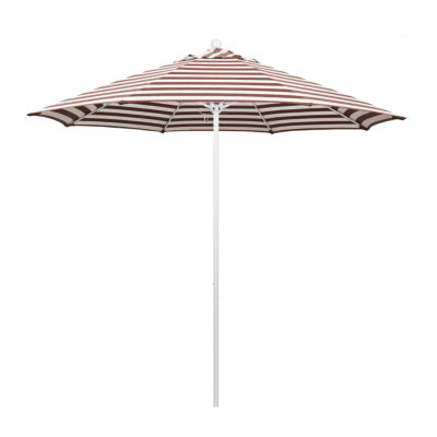 California Umbrella 9' Venture Series Stripe Olefin Patio Umbrella With Matted White Aluminum Pole Fiberglass Ribs Pully Lift