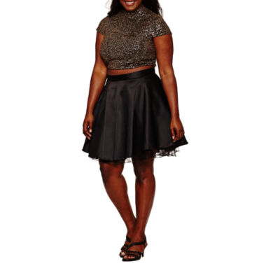 City Triangle Short Sleeve Party Dress-Juniors Plus