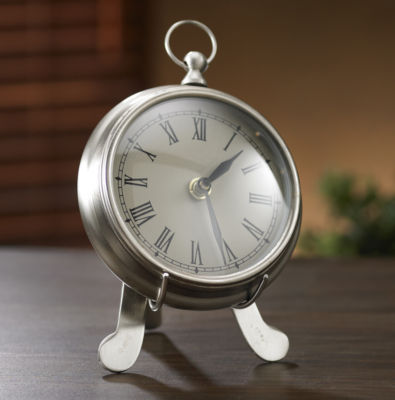 """St. Croix Trading Kindwer 9"""" Pewter Desk Clock with Stand"""