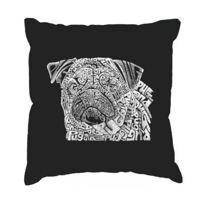 Los Angeles Pop Art Pug Face Throw Pillow Cover