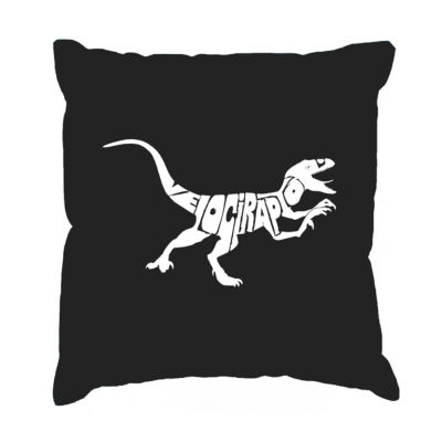 Los Angeles Pop Art Velociraptor Throw Pillow Cover