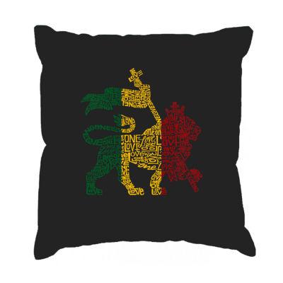 Los Angeles Pop Art Rasta Lion - One Love Throw Pillow Cover