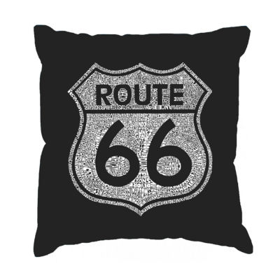 Los Angeles Pop Art CITIES ALONG THE LEGENDARY ROUTE 66 Throw Pillow Cover