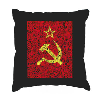 Los Angeles Pop Art Lyrics to the Soviet NationalAnthem Throw Pillow Cover