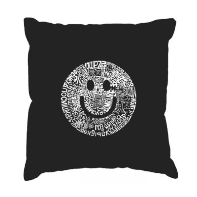 Los Angeles Pop Art SMILE IN DIFFERENT LANGUAGES Throw Pillow Cover