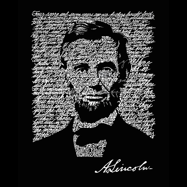 Los Angeles Pop Art ABRAHAM LINCOLN - GETTYSBURG ADDRESS Throw Pillow Cover