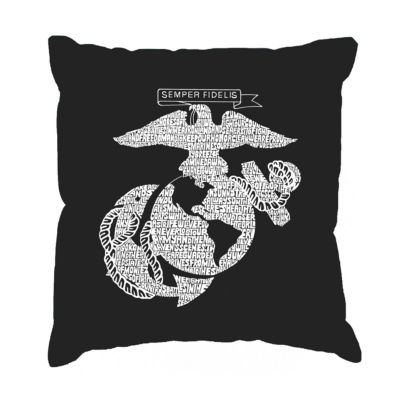 Los Angeles Pop Art LYRICS TO THE MARINES HYMN Throw Pillow Cover