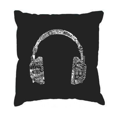 Los Angeles Pop Art HEADPHONES - LANGUAGES Throw Pillow Cover