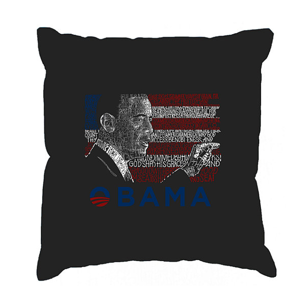 Los Angeles Pop Art BARACK OBAMA - ALL LYRICS TO AMERICA THE BEAUTIFUL Throw Pillow Cover
