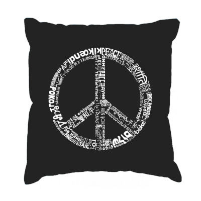 Los Angeles Pop Art THE WORD PEACE IN 77 LANGUAGESThrow Pillow Cover