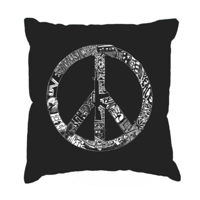Los Angeles Pop Art PEACE LOVE & MUSIC Throw Pillow Cover