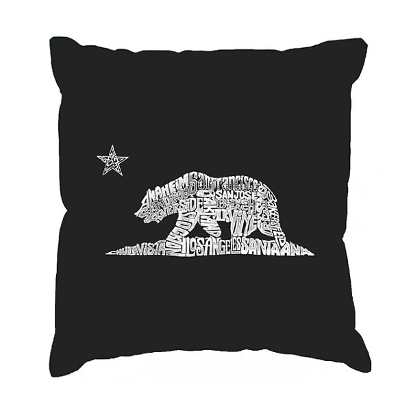 Los Angeles Pop Art California Bear Throw Pillow Cover