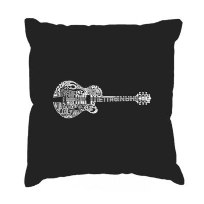 Los Angeles Pop Art Country Guitar Throw Pillow Cover