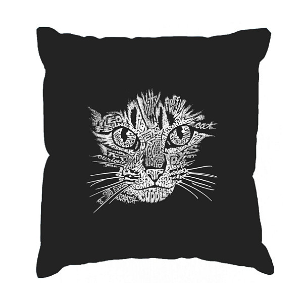 Los Angeles Pop Art  Cat Face Throw Pillow Cover