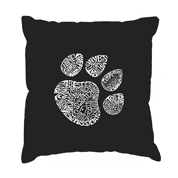 Los Angeles Pop Art  Cat Paw Throw Pillow Cover