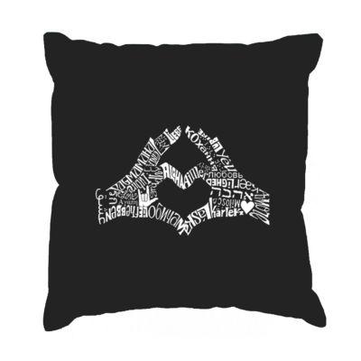Los Angeles Pop Art Finger Heart Throw Pillow Cover
