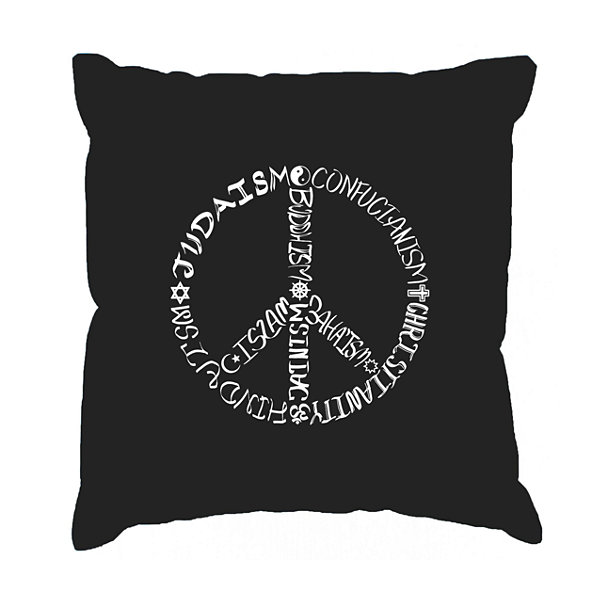 Los Angeles Pop Art  Different Faiths peace sign Throw Pillow Cover