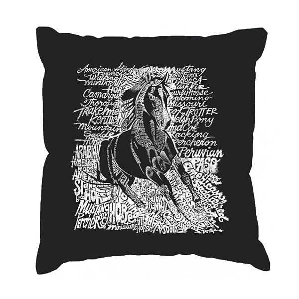 Los Angeles Pop Art POPULAR HORSE BREEDS Throw Pillow Cover