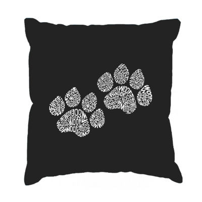 Los Angeles Pop Art  Woof Paw Prints Throw PillowCover