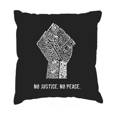 Los Angeles Pop Art No Justice No Peace Throw Pillow Cover