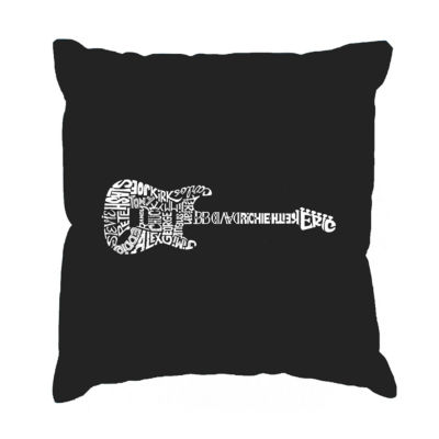 Los Angeles Pop Art  Rock Guitar Throw Pillow Cover