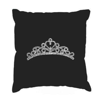 Los Angeles Pop Art  Princess Tiara Throw Pillow Cover