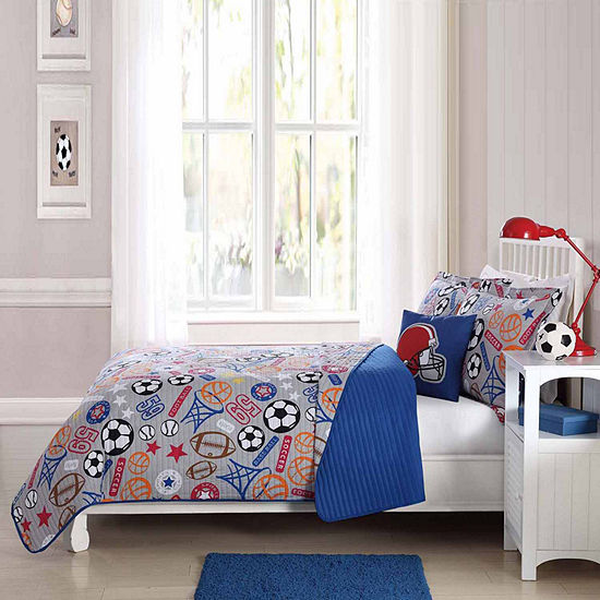 Sports Express Quilt Set With Decorative Pillow