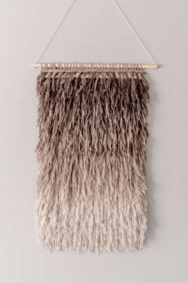 Handmade Modern Chevron Shag Rug-Style Wall Hanging