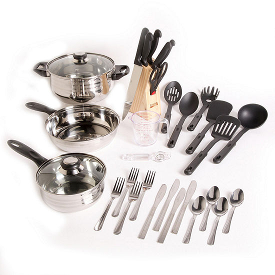 Gibson Lybra 32-pc. Cookware Combo Set