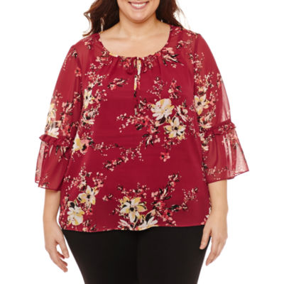 Alyx 3/4 Sleeve Round Neck Woven Floral Blouse-Plus