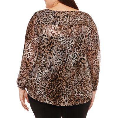 Alyx Long Sleeve Split Crew Neck Chiffon Animal Blouse-Plus