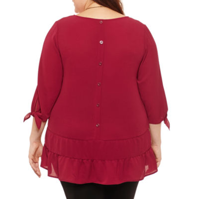 Alyx 3/4 Sleeve Round Neck Crepe Blouse-Plus