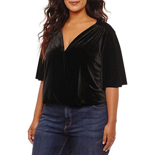 Worthington Short Sleeve Velvet Bodysuit-Plus
