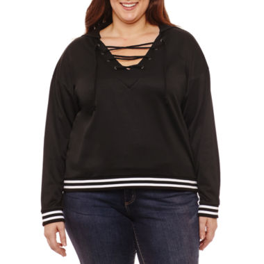 Project Runway Lace up Sweatshirt - Plus