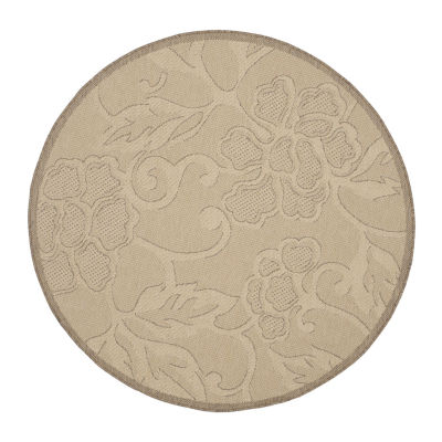 Safavieh Courtyard Collection Elwin Floral Indoor/Outdoor Round Area Rug